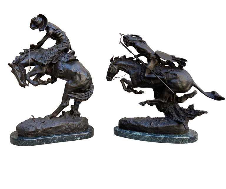 American Pair of Large Bronze Table Sculptures with Marble after Frederic Remington For Sale