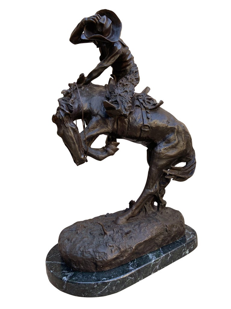 Pair of Large Bronze Table Sculptures with Marble after Frederic Remington In Excellent Condition For Sale In Philadelphia, PA