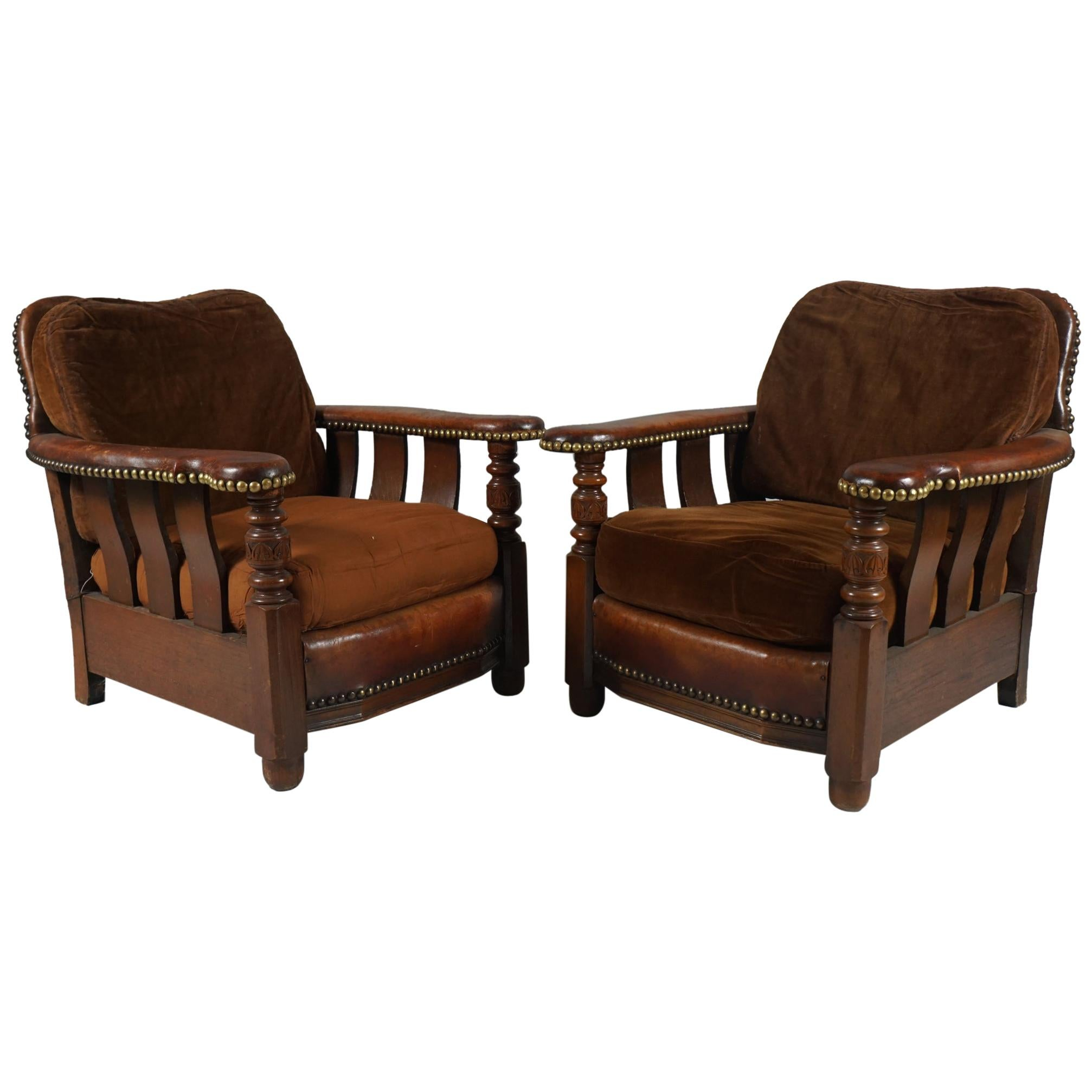 Pair of of Unusual Arts & Crafts Leather Armchairs
