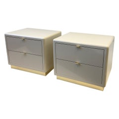 Pair of off White Lacquered and Brass Nightstands by Steve Chase