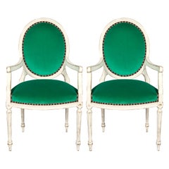 Pair of Off-White Painted Louis XVI Style Armchairs
