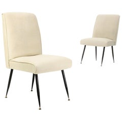 Pair of off White Upholstered Chairs, 1950s