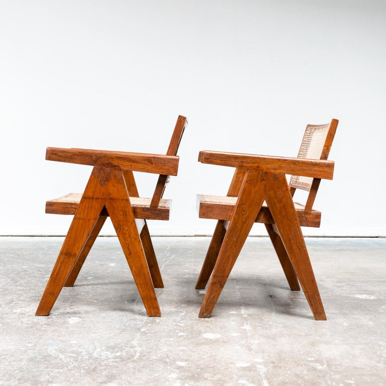 Mid-Century Modern Pair of Office Armchairs by Pierre Jeanneret, 1950s For Sale