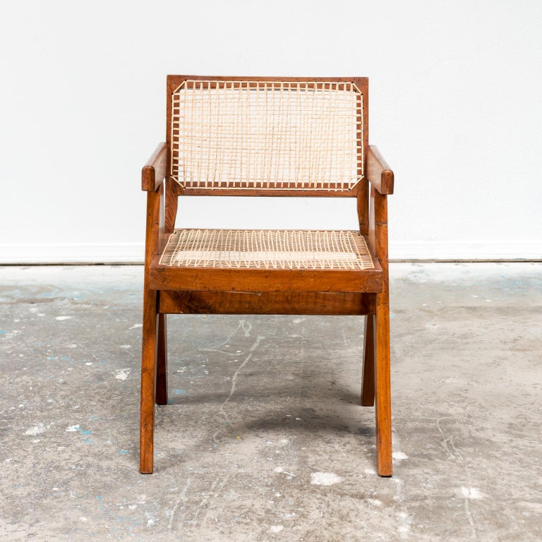 Indian Pair of Office Armchairs by Pierre Jeanneret, 1950s For Sale