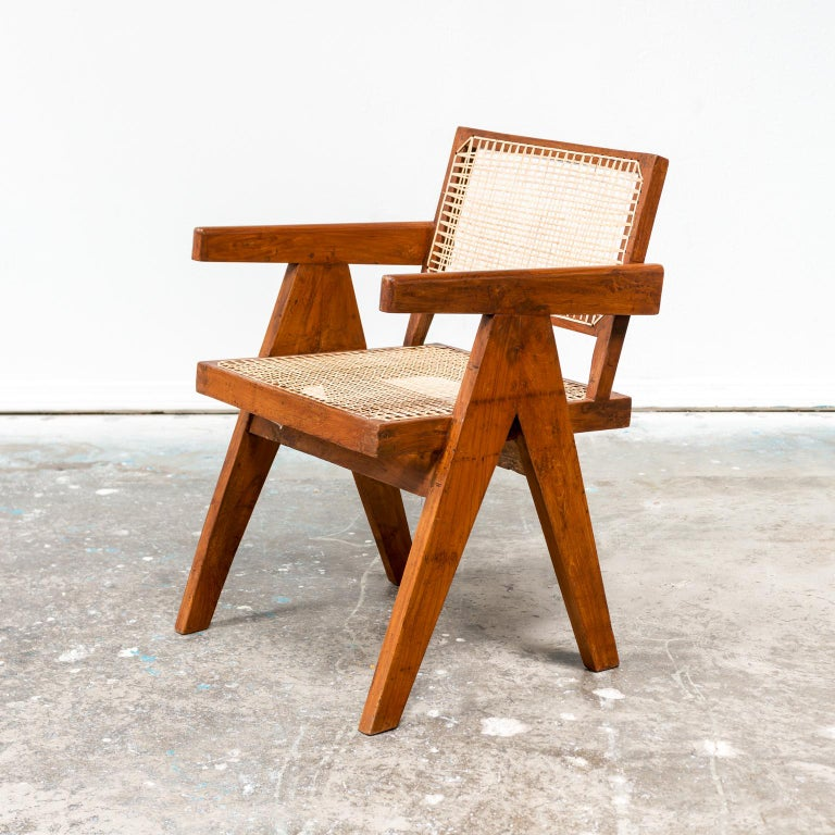 Hand-Woven Pair of Office Armchairs by Pierre Jeanneret, 1950s For Sale