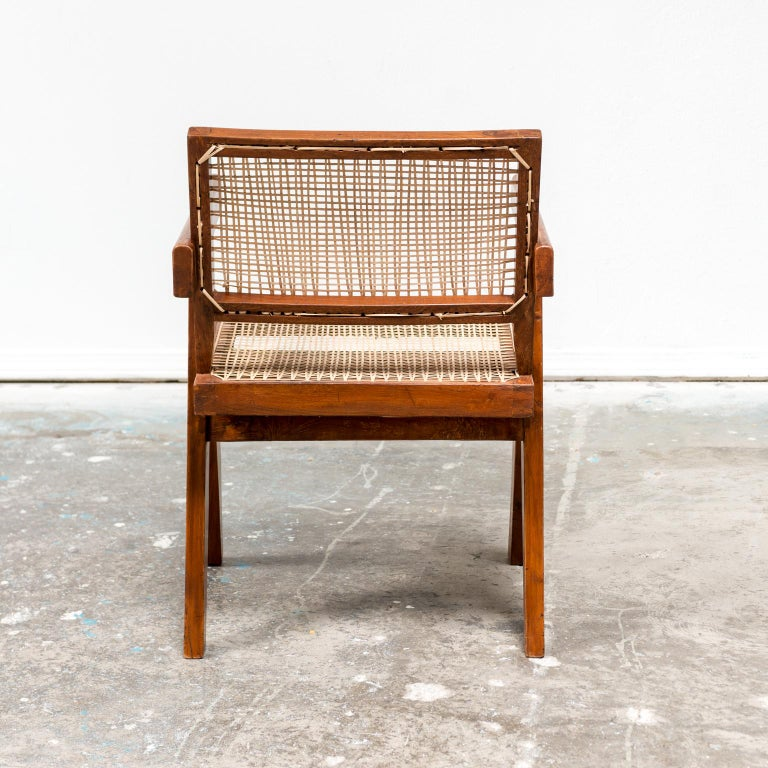 Pair of Office Armchairs by Pierre Jeanneret, 1950s In Good Condition For Sale In Santa Fe, NM