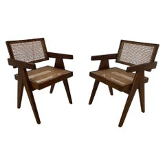 Pair of Office Pierre Jeanneret Office Chairs, Chandigarh, circa 1953