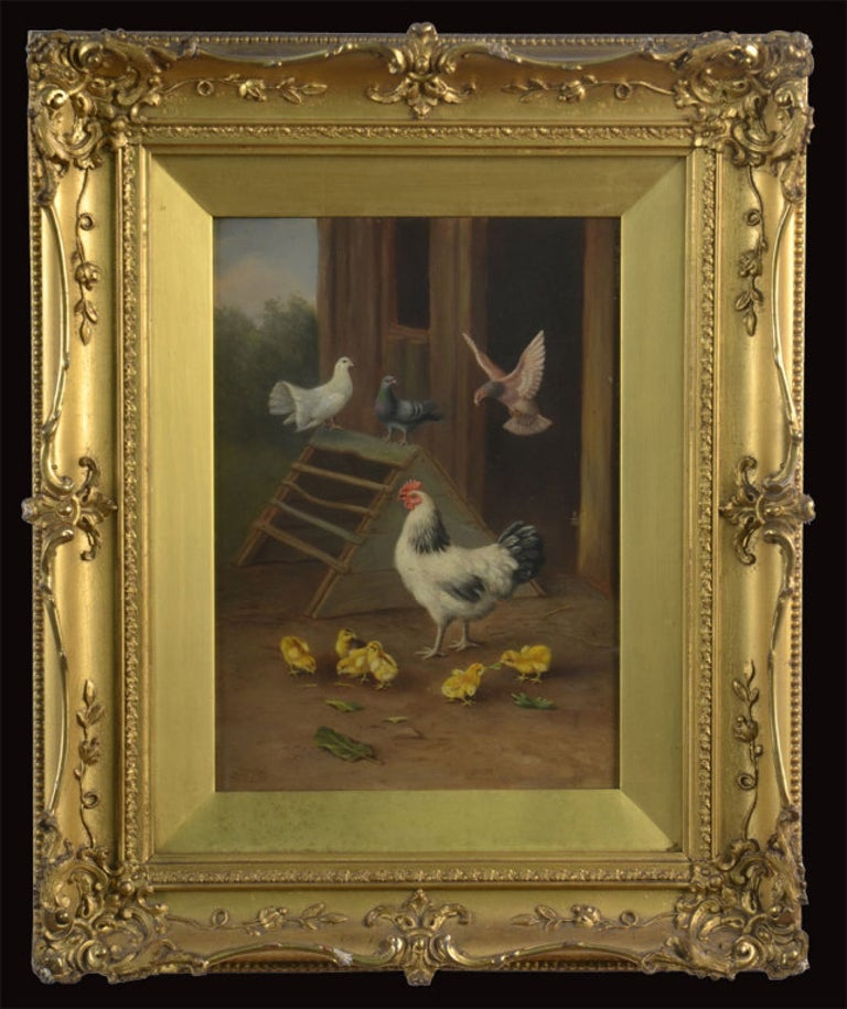 English Pair of Oil on Board Farmyard Scenes For Sale