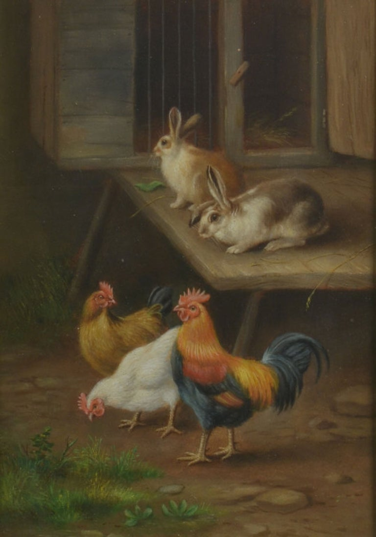 Pair of Oil on Board Farmyard Scenes In Good Condition For Sale In Cheshire, GB