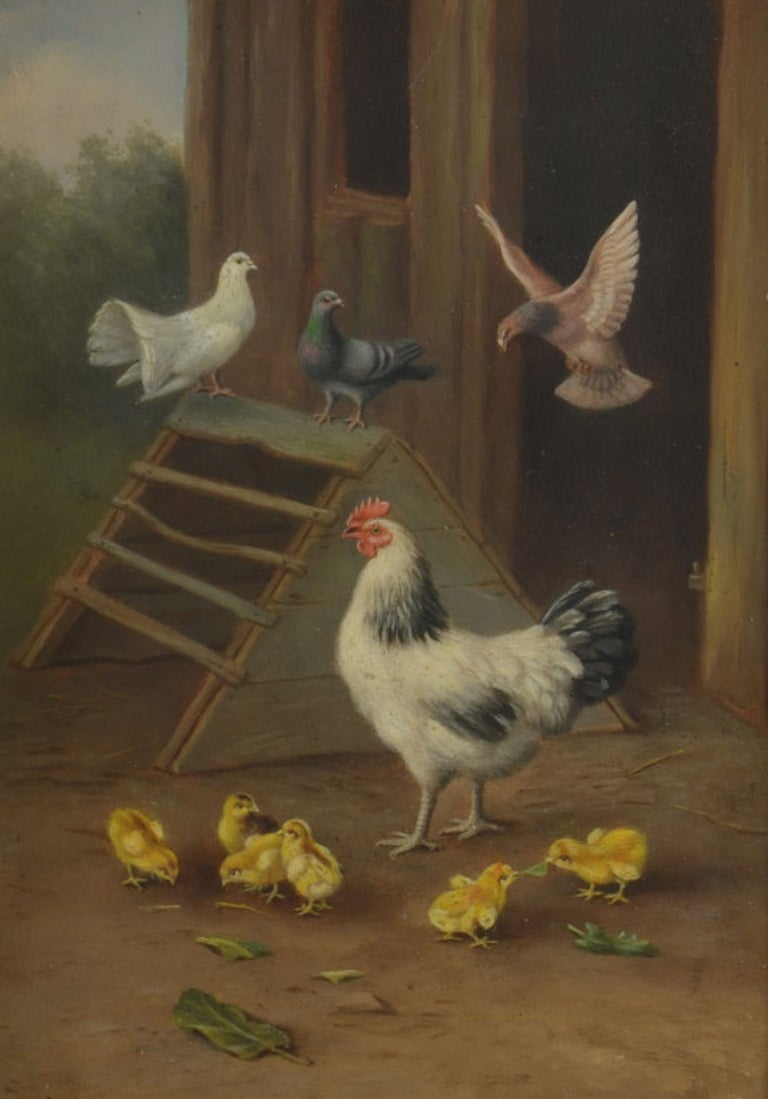 Paint Pair of Oil on Board Farmyard Scenes For Sale