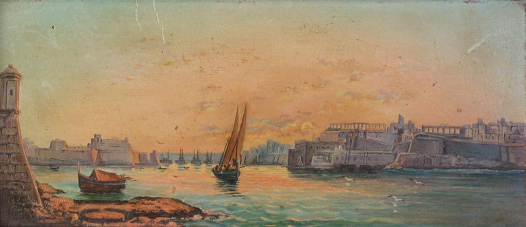Grand Tour Pair of Oil on Board Harbour Scenes Manner of Luigi Maria Galea For Sale