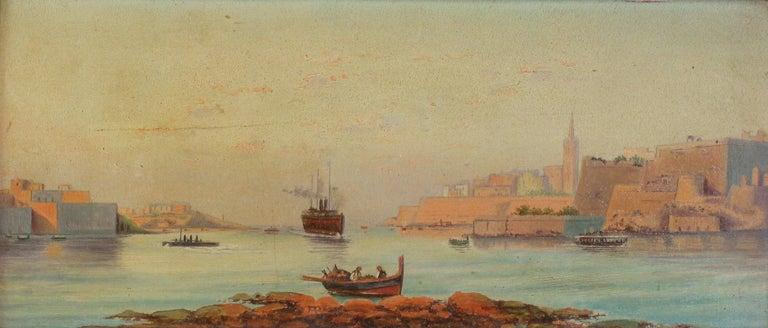 Italian Pair of Oil on Board Harbour Scenes Manner of Luigi Maria Galea For Sale