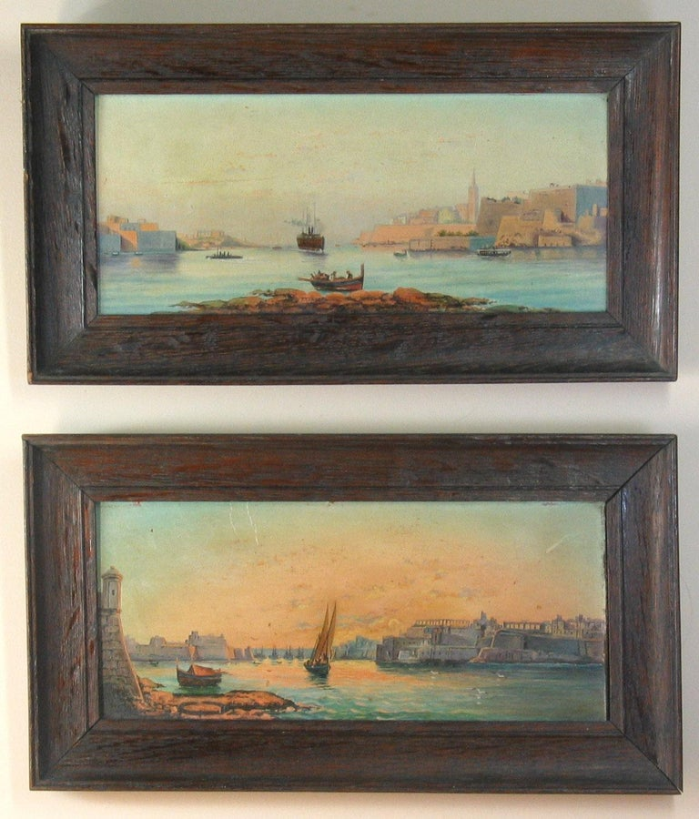 Brushed Pair of Oil on Board Harbour Scenes Manner of Luigi Maria Galea For Sale