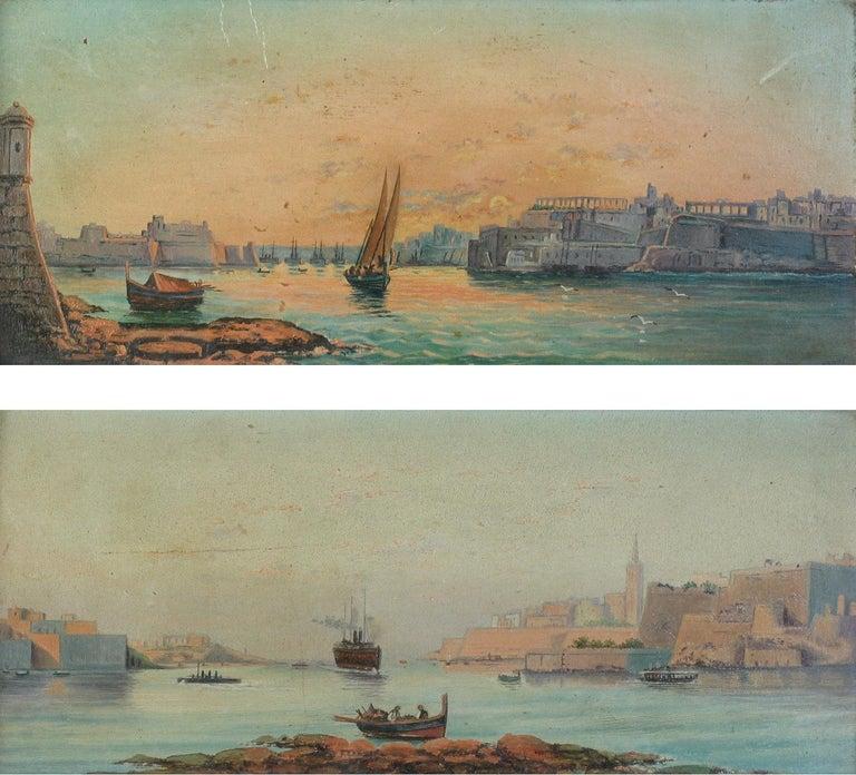 20th Century Pair of Oil on Board Harbour Scenes Manner of Luigi Maria Galea For Sale