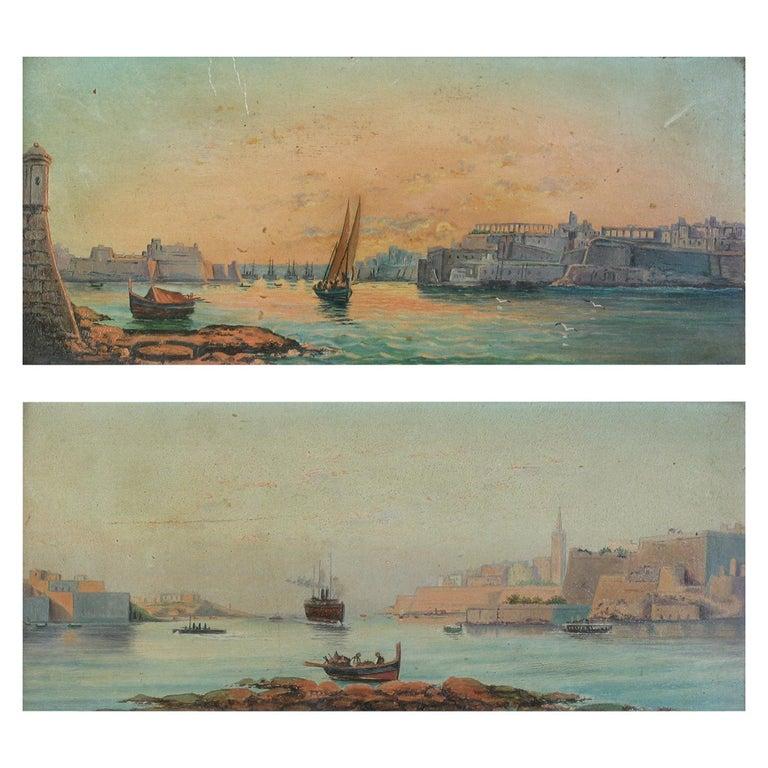 Pair of Oil on Board Harbour Scenes Manner of Luigi Maria Galea For Sale