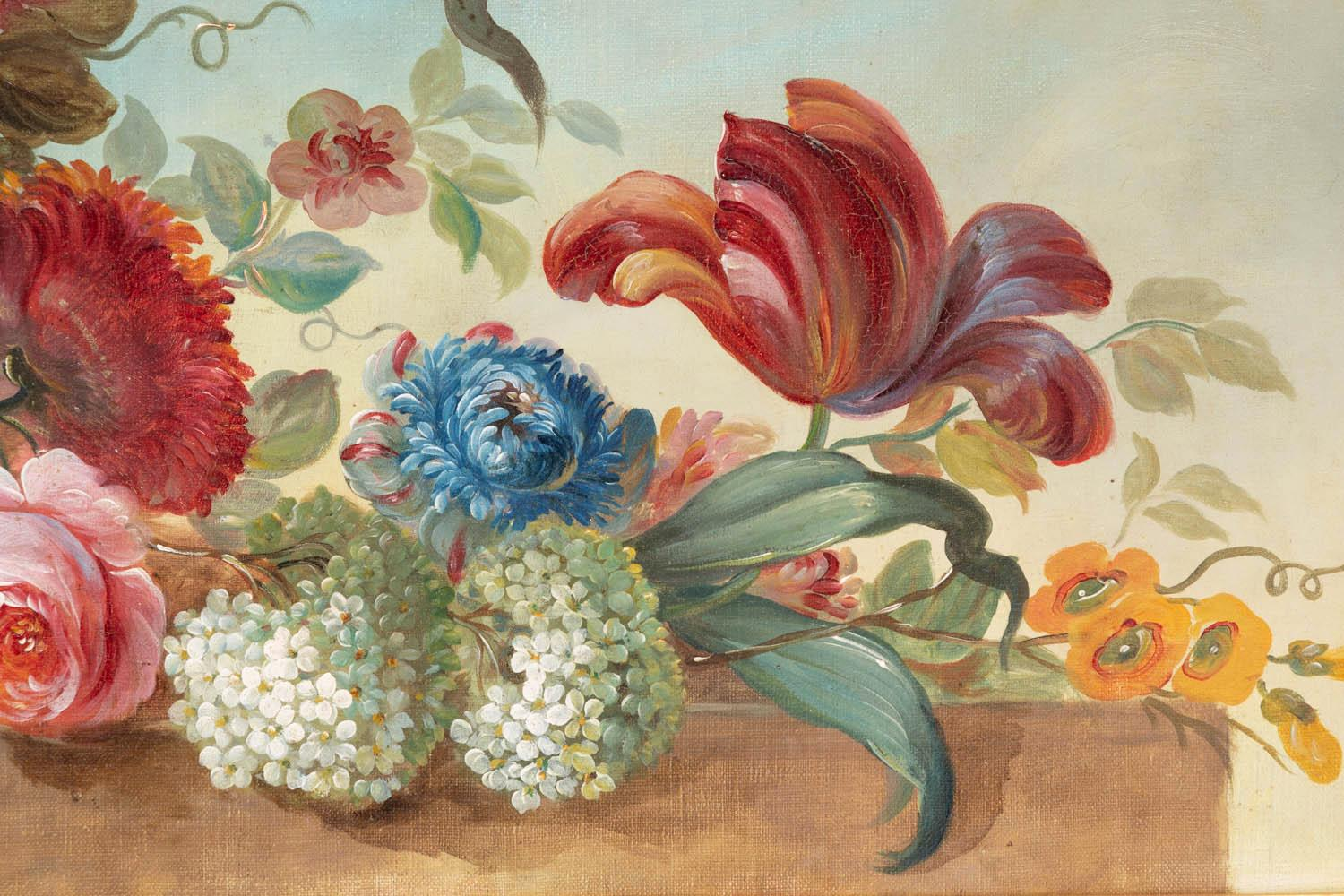 1stDibs & Pair of Oil on Canvas Figuring Flowers in Vases circa 1900