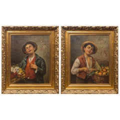 Pair of Oil on Canvas Portraits of Street Vendors
