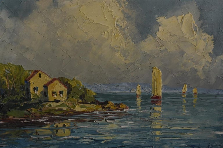Pair of Oil on Canvas Russian by Schastliviy In Good Condition For Sale In Marseille, FR