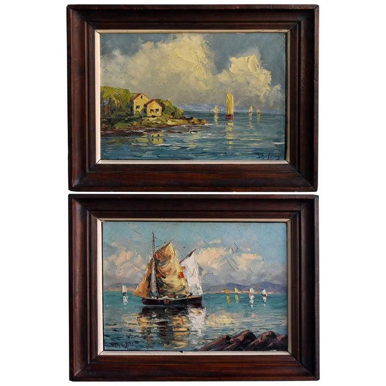 Pair of Oil on Canvas Russian by Schastliviy For Sale