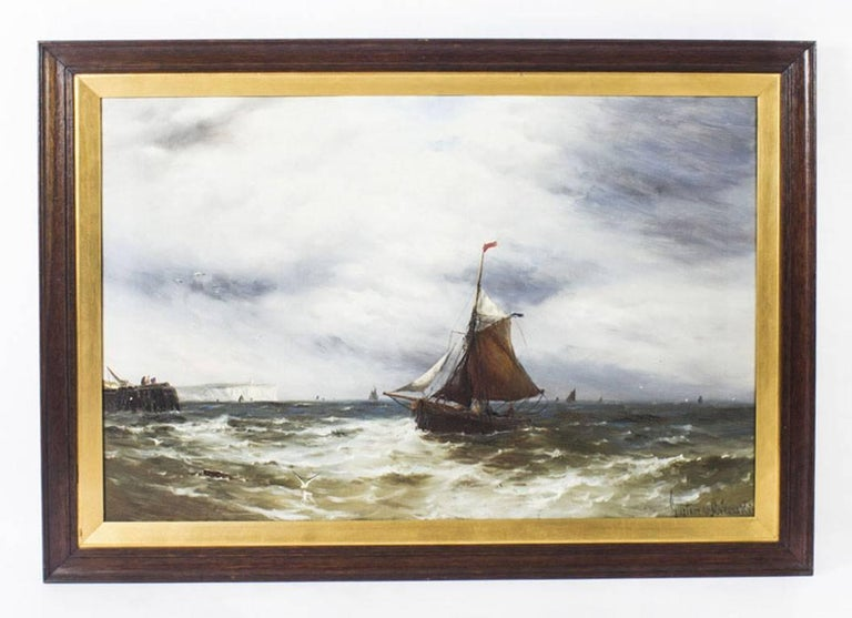 This is a beautiful pair of large antique oil on canvas seascape paintings, 'The incoming tide; and catching the breeze' and each signed by the notable British artist Gustave De Bréanski (1856-1898), lower right.