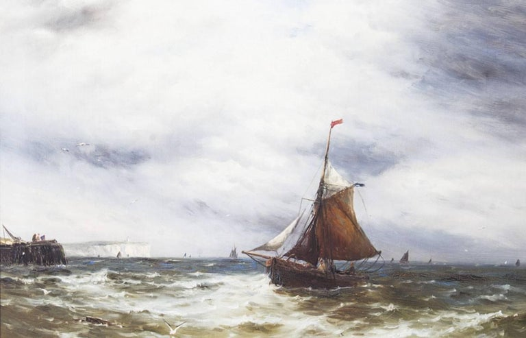 Pair of Oil on Canvas Seascape Paintings Gustave De Bréanski, 19th Century In Excellent Condition For Sale In London, GB
