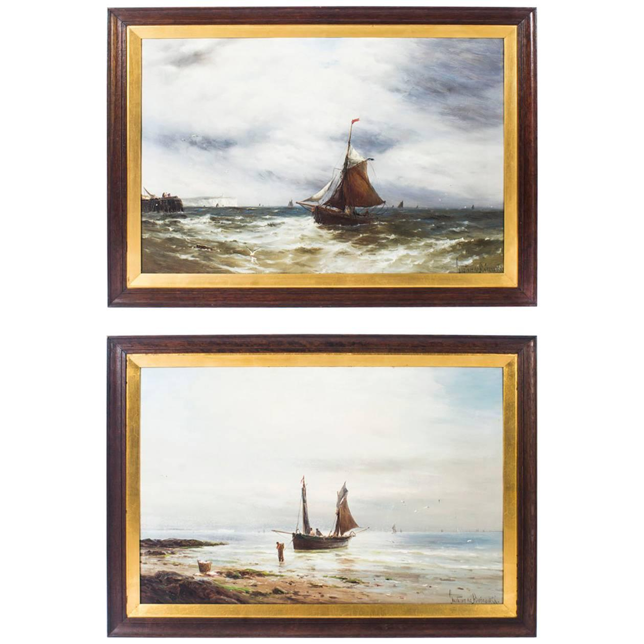 Pair of Oil on Canvas Seascape Paintings Gustave De Bréanski, 19th Century