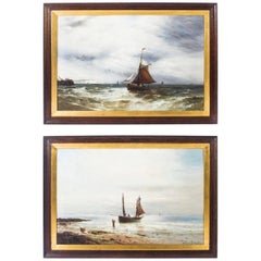 Pair of Oil on Canvas Seascape Paintings Gustave De Bréanski, 19th Century