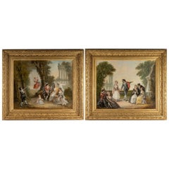 Pair of Oil on Canvas Signed Pigale, Late 19th Century