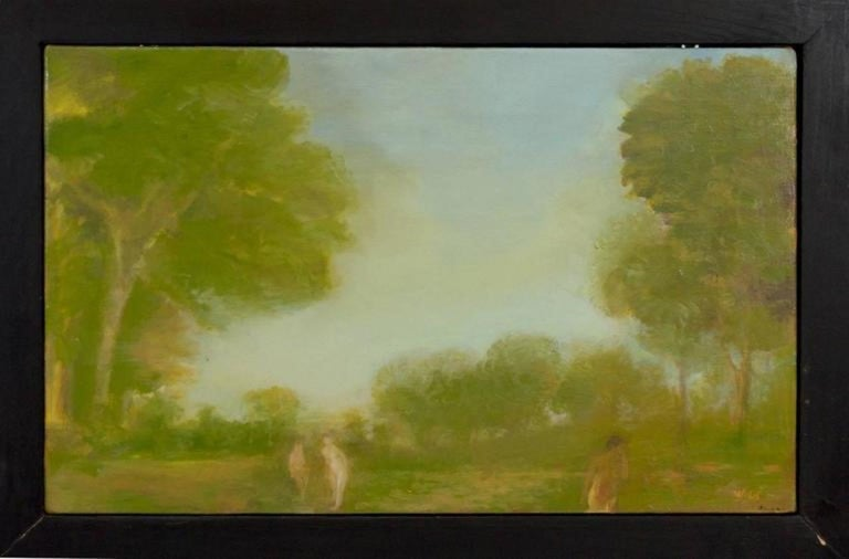 Pair of oil paintings on board by Walter (Valta) Us, signed. One painting is titled