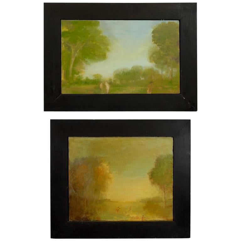 Pair of Oil Paintings by Walter Us For Sale