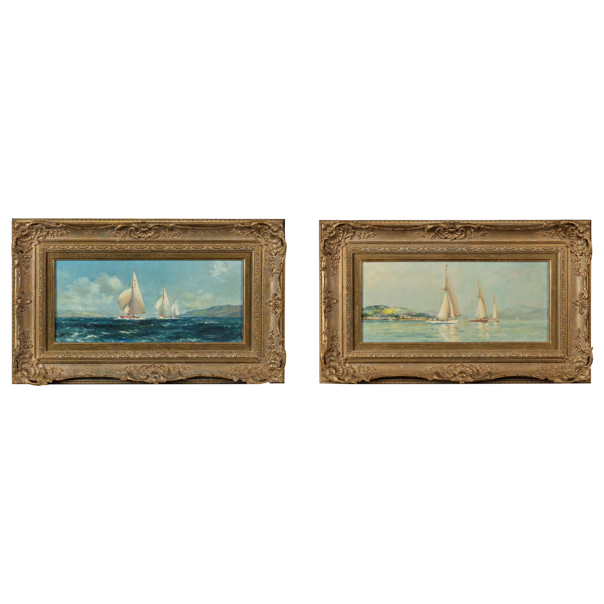 Pair of Oil Paintings of Clyde One Design Yachts Racing by Frank Henry Mason