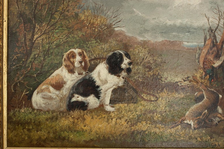 Pair of Oil Paintings of Hunting Spaniels, Mounted on Board For Sale 3