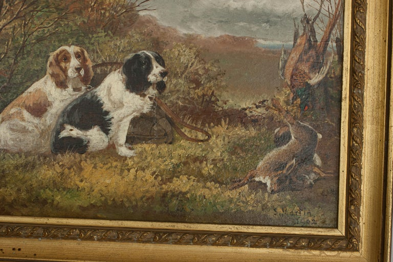 Pair of Oil Paintings of Hunting Spaniels, Mounted on Board For Sale 4