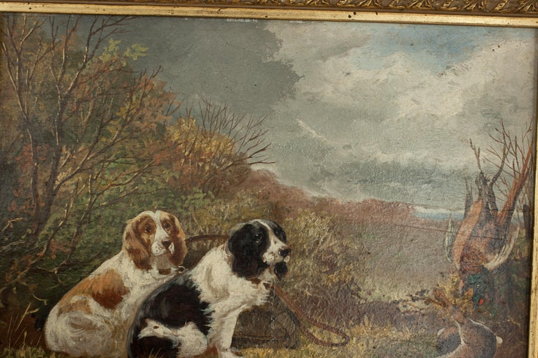 Pair of Oil Paintings of Hunting Spaniels, Mounted on Board For Sale 5