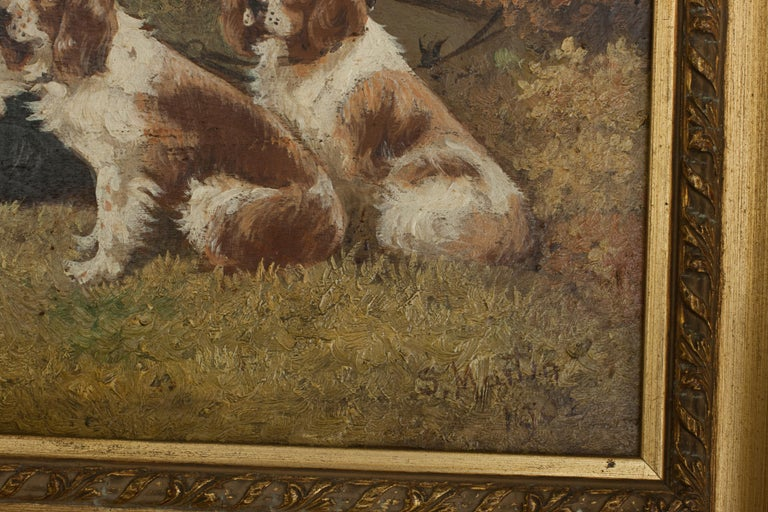 Pair of Oil Paintings of Hunting Spaniels, Mounted on Board For Sale 7