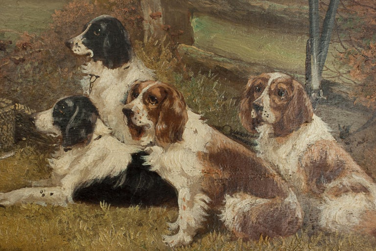 Pair of Oil Paintings of Hunting Spaniels, Mounted on Board For Sale 8
