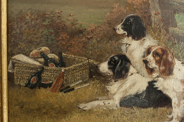 Pair of Oil Paintings of Hunting Spaniels, Mounted on Board For Sale 9