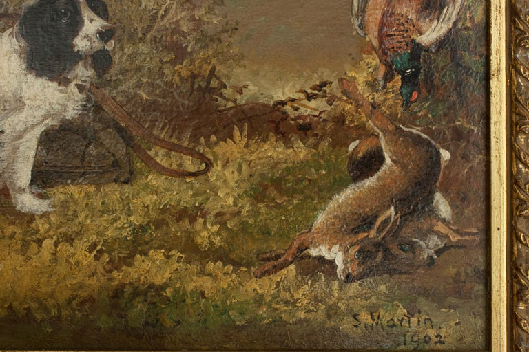 Pair of Oil Paintings of Hunting Spaniels, Mounted on Board For Sale 10