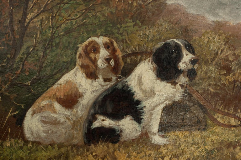 Pair of Oil Paintings of Hunting Spaniels, Mounted on Board For Sale 11