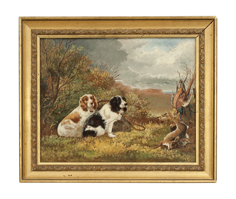 Sporting Art Pair of Oil Paintings of Hunting Spaniels, Mounted on Board For Sale