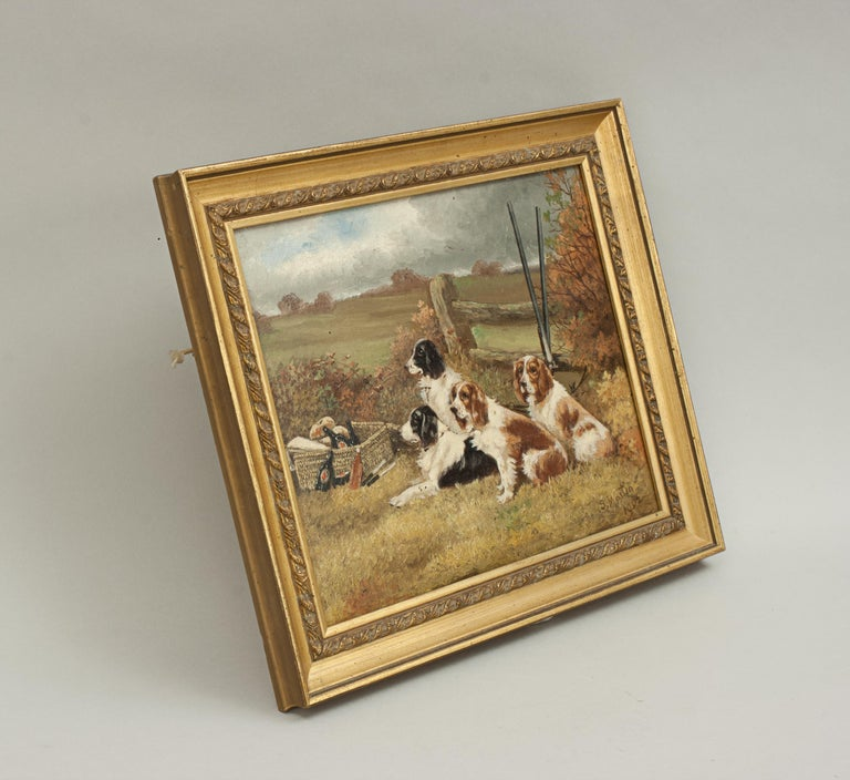 British Pair of Oil Paintings of Hunting Spaniels, Mounted on Board For Sale