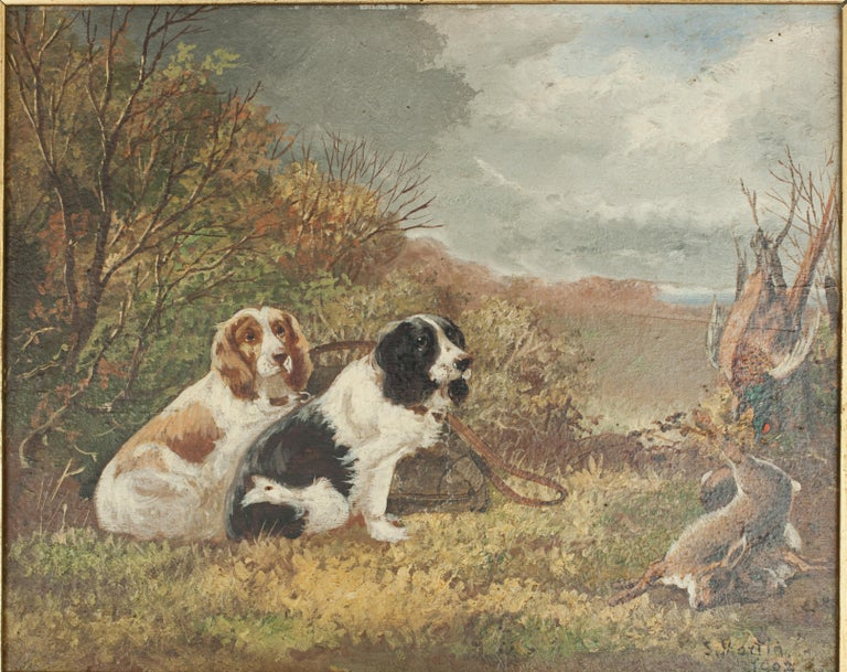 Pair of Oil Paintings of Hunting Spaniels, Mounted on Board In Good Condition For Sale In Oxfordshire, GB