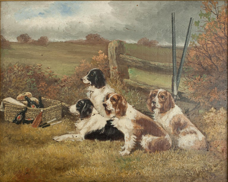 Early 20th Century Pair of Oil Paintings of Hunting Spaniels, Mounted on Board For Sale
