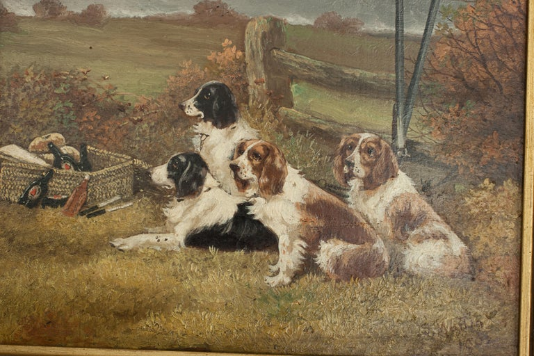 Wood Pair of Oil Paintings of Hunting Spaniels, Mounted on Board For Sale