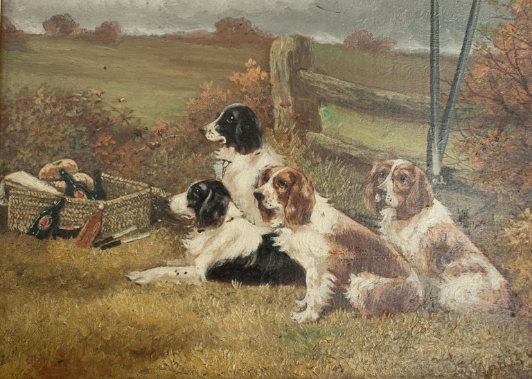 Pair of Oil Paintings of Hunting Spaniels, Mounted on Board For Sale 1