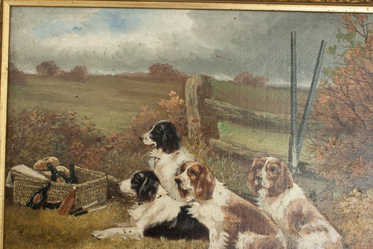 Pair of Oil Paintings of Hunting Spaniels, Mounted on Board For Sale 2