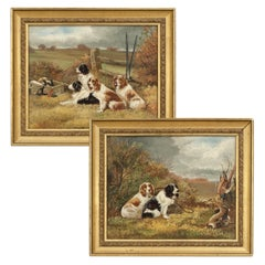 Pair of Oil Paintings of Hunting Spaniels, Mounted on Board