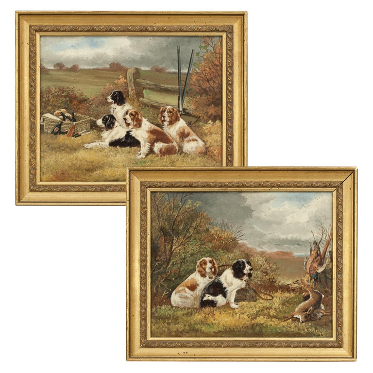 Pair of Oil Paintings of Hunting Spaniels, Mounted on Board For Sale