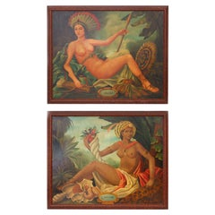 Pair of Oil Paintings of the Beauties L'Amerique and L'Afrique by Skilling