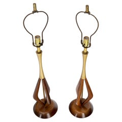 Pair of Oiled Sculptural Walnut Mid-Century Modern Table Lamps